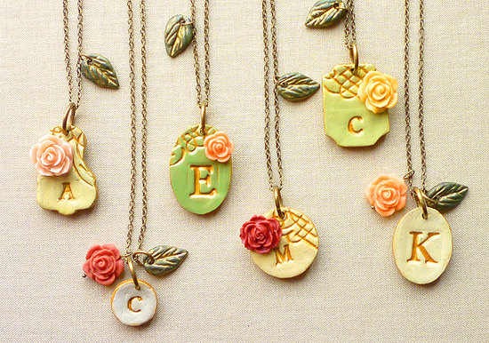 Victorian garden initial necklaces for bridesmaids