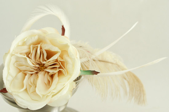 Ivory rose and feather wedding fascinator