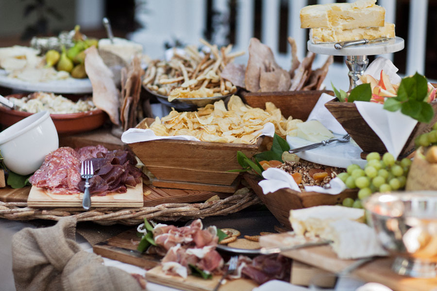 Antipasto Station At Outdoor Wedding Reception