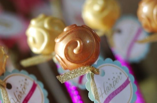 Gold bronze wedding cake pops