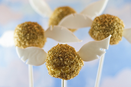 Gold sprinkle cake pops with wings