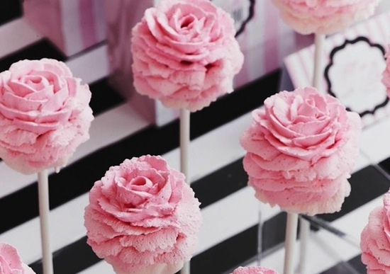 Pastel pink rose wedding cake pops