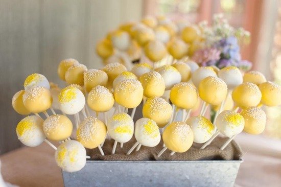 Springy yellow and white wedding cake pops