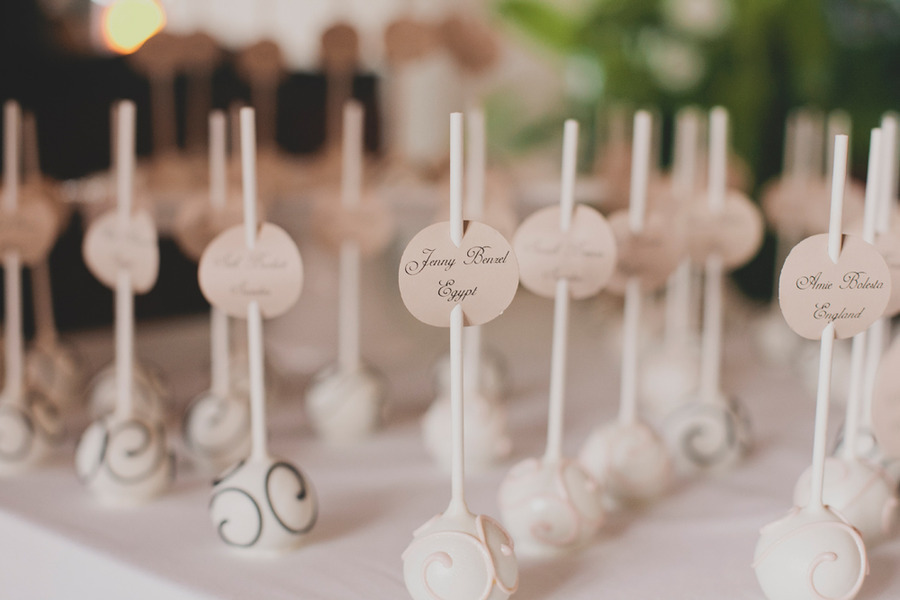 Cake pops as escort cards