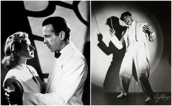 Humphrey Bogart in Casablanca; Cab Calloway in all white tie and tails