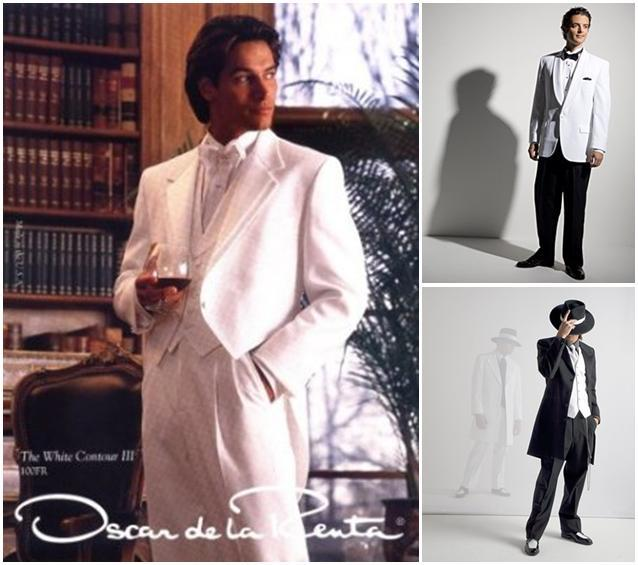 men\'s formal wear looks from Selix- all white tux with tails, and ...