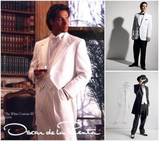 Favorite men's formal wear looks from Selix- all white tux with tails, and play off zoot suit