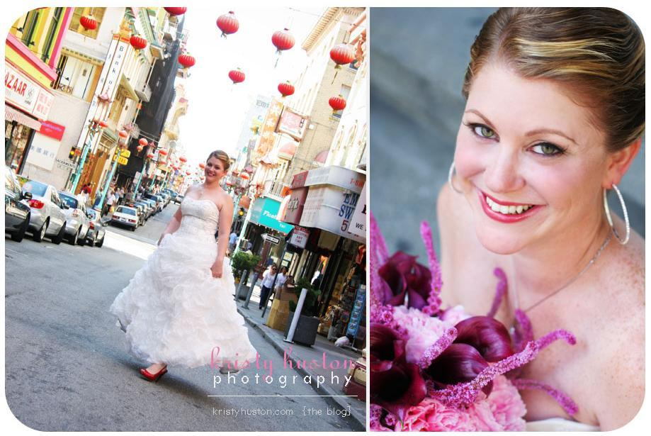Beautiful Bride In Strapless Dress With Full Puffy Skirt Poses A Chinatown Street