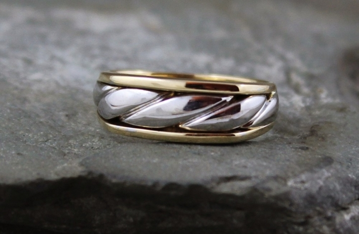 White and yellow gold male wedding band