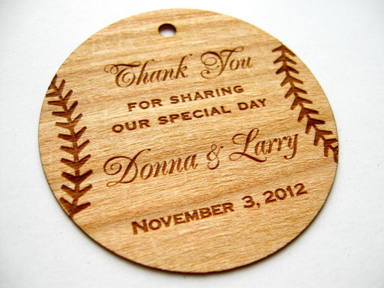 photo of Wood Baseball Thank You Tags by Etsy Seller Talathiel