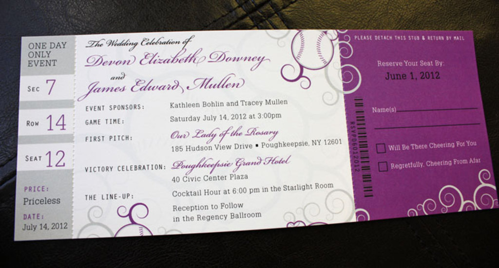 baseball themed wedding programs for the ceremony - Baseball Wedding Invitations