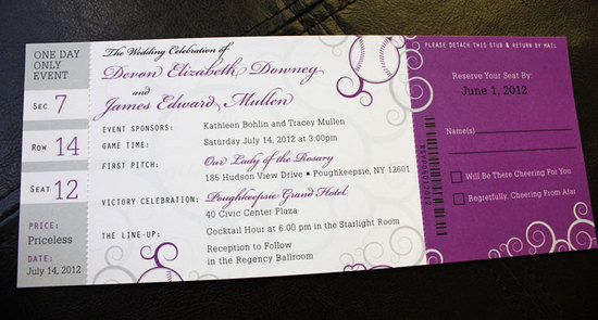Purple Gray Swirl Baseball Ticket Wedding Invitations1