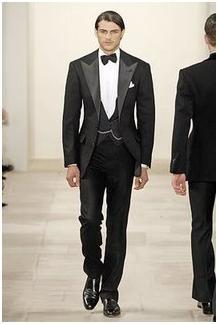 Black classic tuxedo, black bow tie, white shirt