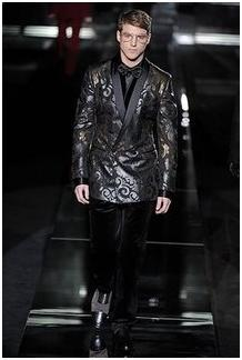 avant garde tuxedo on runway, all black