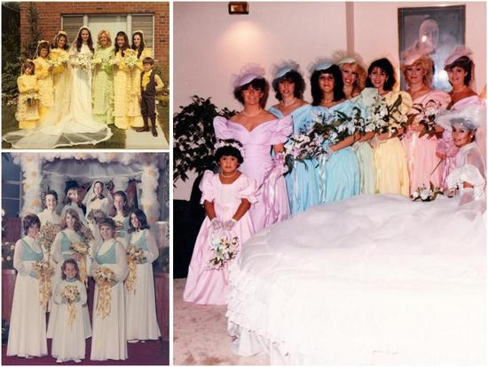 Ugly bridesmaid dresses through the ages- every color of the rainbow