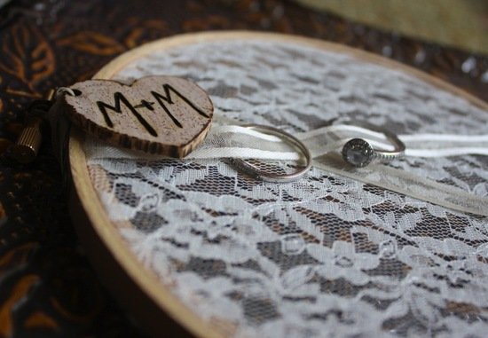 Lace Hoop Ring Bearer Pillow Alternative