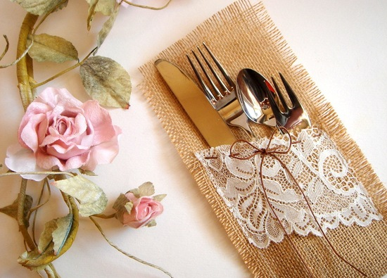 Burlap and Lace to wrap silverware