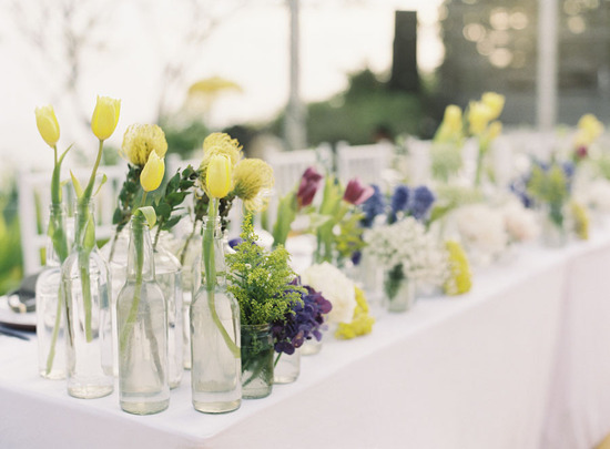 Spring Tulips in Bottles for Wedding Reception Decor