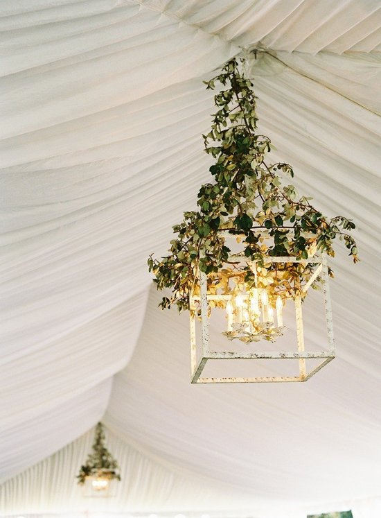 Ivy covered wedding chandelier