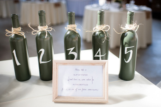 Wine Bottles for Table Numbers