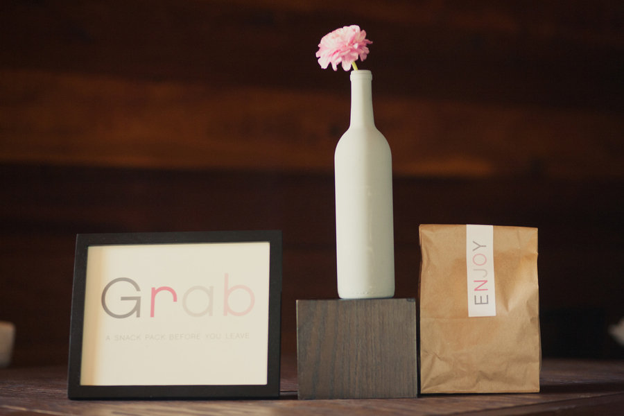 Wedding Favors Table with Painted Wine Bottle Vase