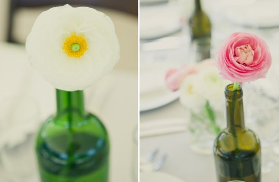 Wine bottles as wedding centerpiece vases