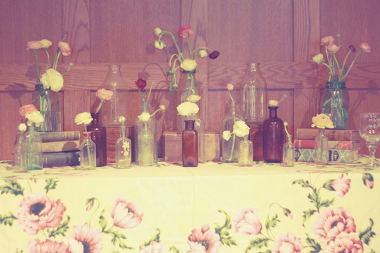 Vintage wedding repurposed bottles with blooms