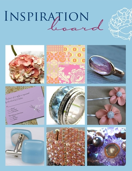 Pink, purple and sky blue pastels- cuff bracelets, rings, cufflinks, stationery for your wedding