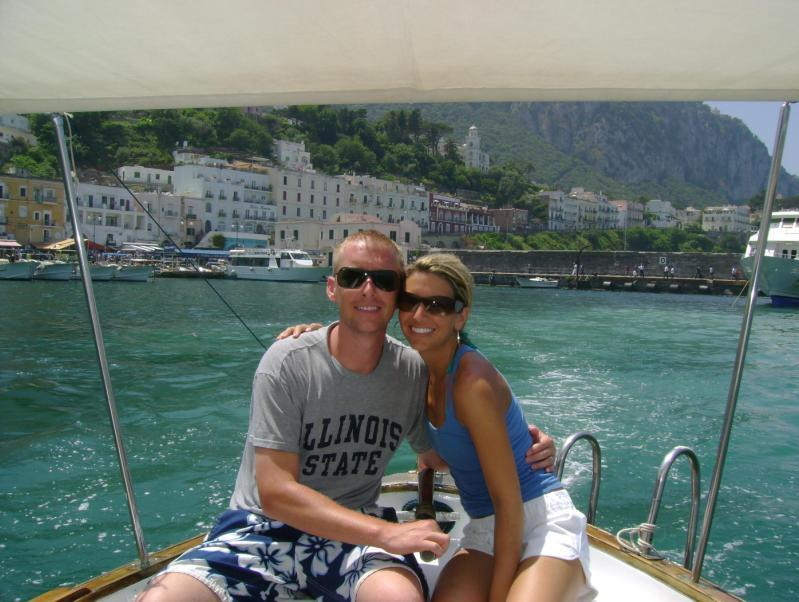The beautiful couple sail together in Capri, Italy