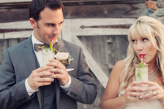 Bride and Groom Sip on Signature Drinks