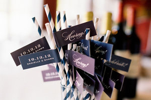 photo of Fanciful wedding drink flags 1
