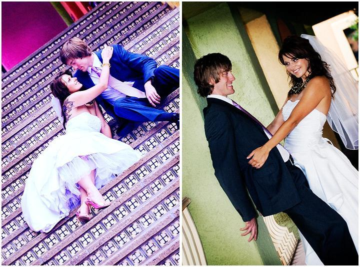 Bride-with-tattoo-on-back-white-wedding-dress-veil-with-groom-on-stairs.full