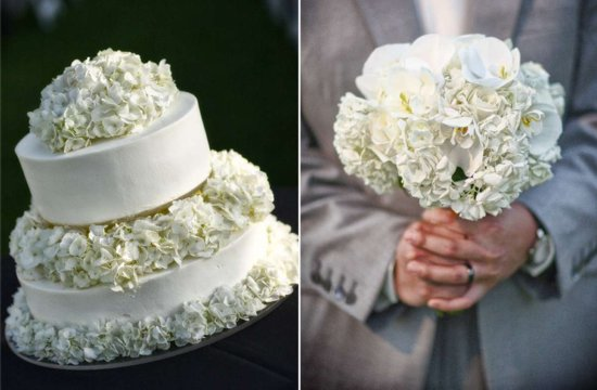 Hydrangea bridal bouquet and classic wedding cake