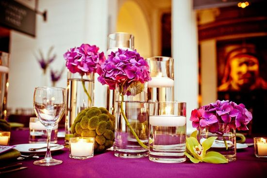 Purple and green wedding reception table hydrangeas