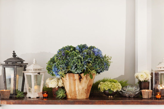 Rustic hydrangea wedding flower centerpiece