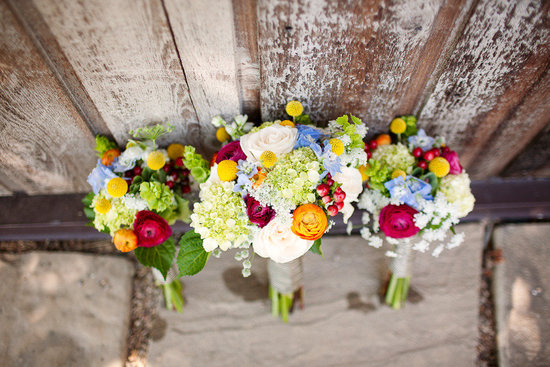 Colorful wedding bouquets with hydrangea