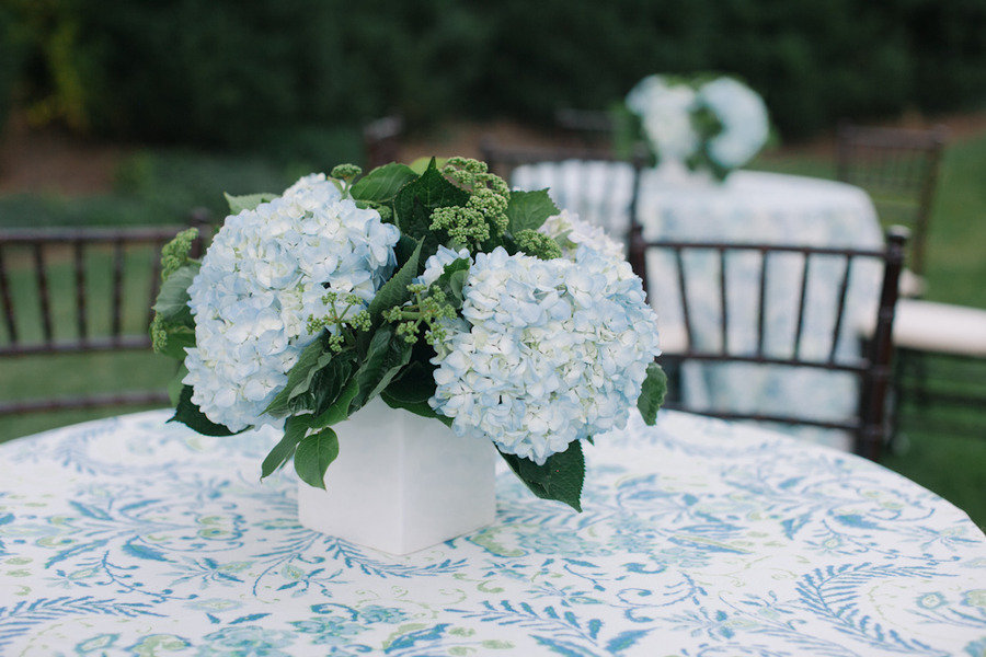Sky Blue Hydrangea Wedding Centerpiece