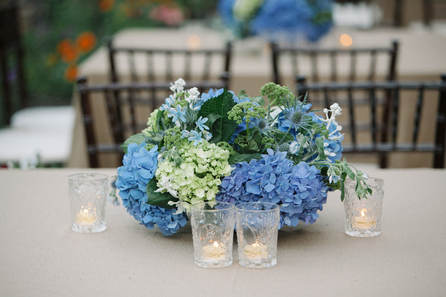Blue Green Romantic Wedding Centerpiece Hydrangeas