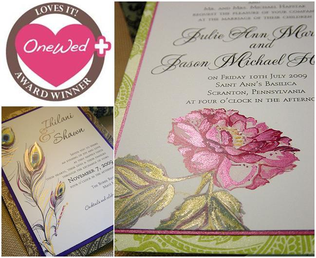 Painted Wedding Invitations: Beautiful Pink, Fuchsia, Green, Gold Hand Painted Wedding