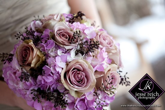 Romantic purple dusty rose wedding bouquet