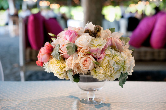 Romantic wedding centerpiece ivory pink peach