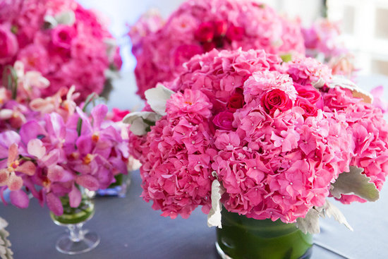 Hot pink hydrangea wedding flowers