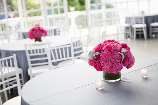 photo of Pink and green hydrangea lambs ear centerpieces