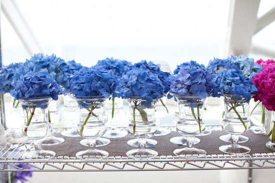 Monochromatic blue wedding bouquets