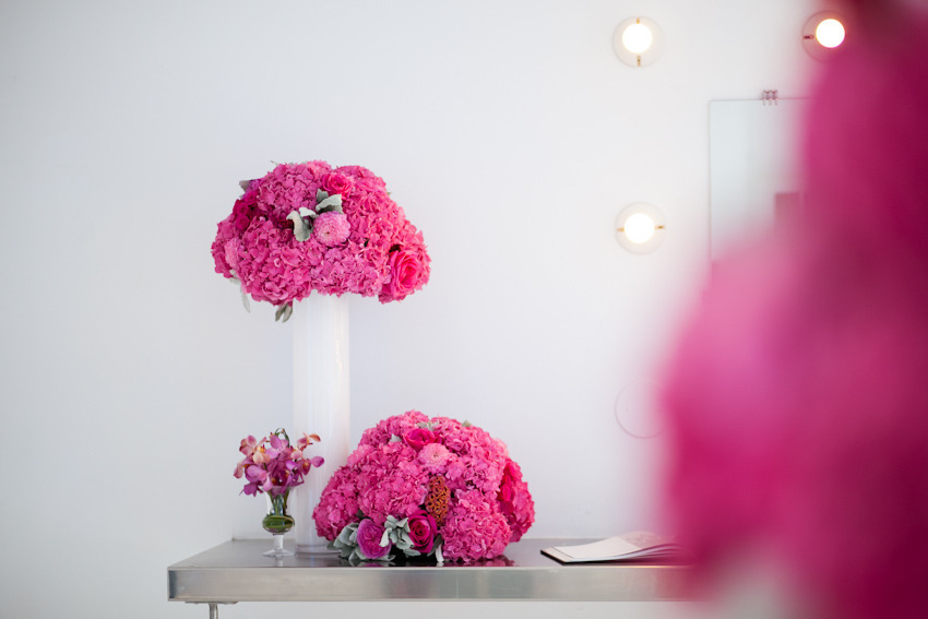 Pink and green hydrangea lambs ear centerpieces