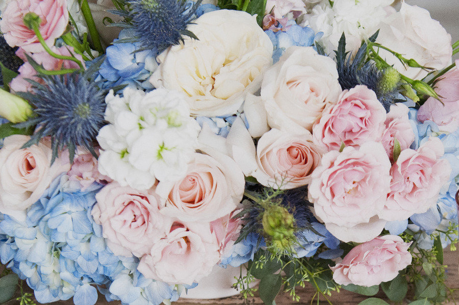 Romantic pastel wedding flowers with hydrangeas