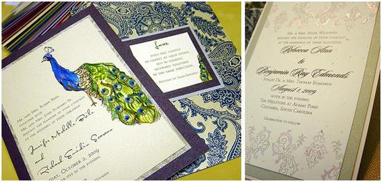 Beautiful hand-painted wedding invitations- blue, green, silver peacock; taupe, rose, silver wedding