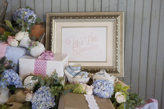 Vintage wedding reception welcome table hydrangeas