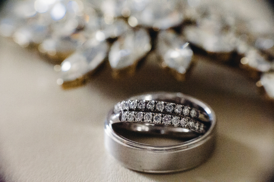 His and Hers wedding bands in platinum and diamonds