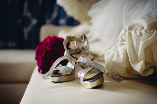 Sparkly silver Jimmy Choo wedding shoes